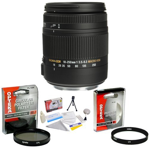 Sigma Super Zoom 18-250Mm F/3.5-6.3 Dc Macro Os Hsm (Optical Stabilizer) Lens For Canon + Opteka Uv Filter + Opteka Cpl Filter + Opteka 5 Piece Cleaning Kit