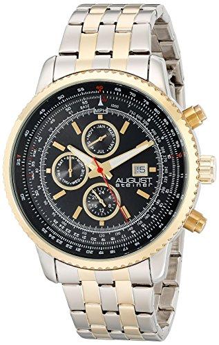 August Steiner Men's Analog Display Swiss Quartz Two Tone Watch