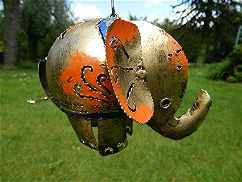 Elephant Tea light Hanging Candle Holder Metal Elephant Garden Lantern - Gold Elephant Tealight