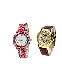 COSMIC COMBO WATCH- COLORFUL STRAP ANALOG WATCH FOR WOMEN AND BROWN ANALOG SKELETON WATCH FOR MEN - B01CGFHULS