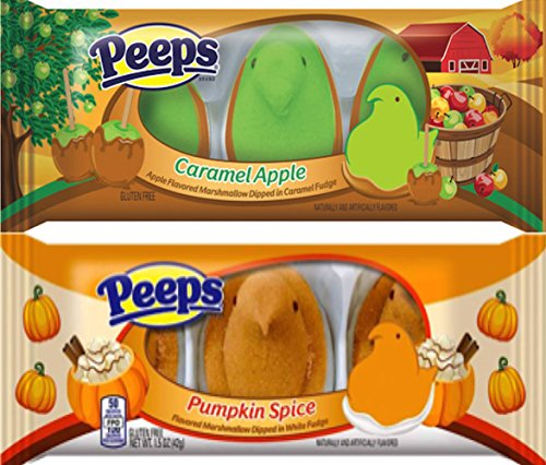 Peeps Fall Edition Gift Set Includes Peeps Limited Edition Caramel Apple and Peeps Limited Edition Pumpkin Spice Marshmallows Chicks