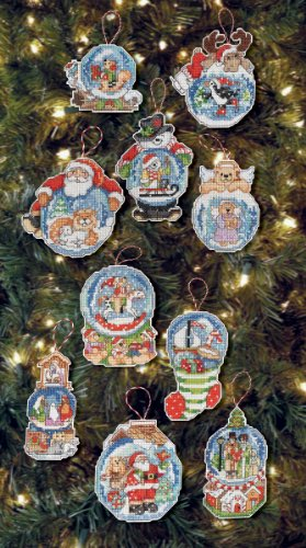 Bucilla 86283 Snow Globe Counted Cross Stitch Ornament Kit, 2-3/4-Inch by 3-1/2-Inch, Set of 10