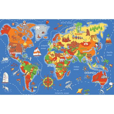 Play Carpet Where In The World Multi Kids Rug - 1