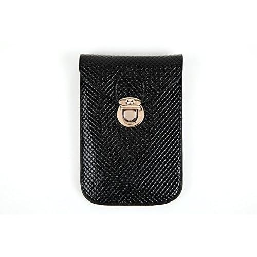 ガジェット ポーチ スマホ ケース iPhone GALAXY 携帯 ケース  化粧 ポーチ 全10種 (ブラック【柄】)