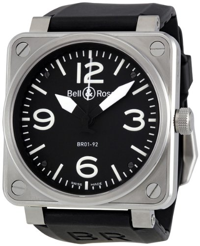 Bell & Ross Men's BR01-92STEEL Aviation Black Rubber Strap Watch