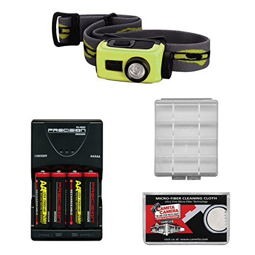 Fenix Hl22 120 Lumens Led Waterproof Headlamp Torch Flashlight (Green) With 4 Aa Rechargeable Batteries & Charger + Case + Cloth