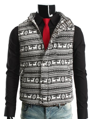 Mens Casual Knitted Vest Jacket GREY (VA03)