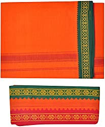 Indhirani Mens Cotton Thalapathy Dhoti With Towel