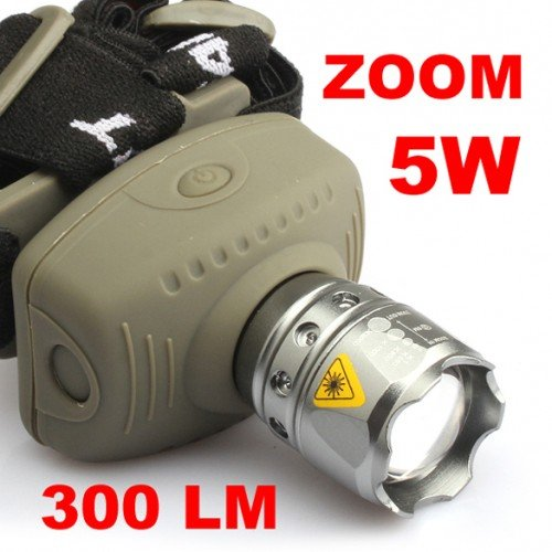 Best Brand Cree Led 300Lm 5W Zoom Zoomable Adjustable Flashlight Headlight Torch Headlamp
