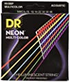 DR Strings Hi-Def NEON Multi-Colour Coated Medium Acoustic Guitar Strings