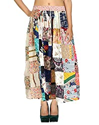 Beautiful Casual Skirt Cotton Cream Floral Patchwork For Women By Rajrang