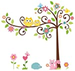 PVC Owl Flower Tree Removable Kids Ro...