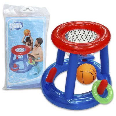 "Inflatable Basketball AND Ring Toss Pool Game In One (24"" High) - Great Inflatable Pool Toys for Adults or for Kids - - 1"
