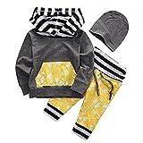 ベビー服 男の子 女の子 綿 長袖 矢印 プリントパーカーとパンツアウトフィット (80 (6-9M))