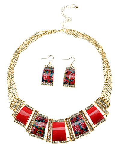 TS-Womens-Printing-Square-Pendant-Necklace-and-Earrings-Set