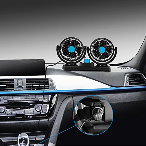 Review JOJOO DC 12V Car Fan - Dual Swivel Head 2 Speed 360° Rotatable Circulator Auto Cooling Air F...
