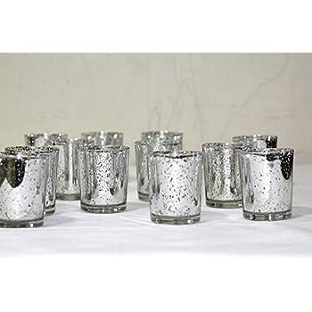 Silver Mercury Glass Votive Holder, Set of 12