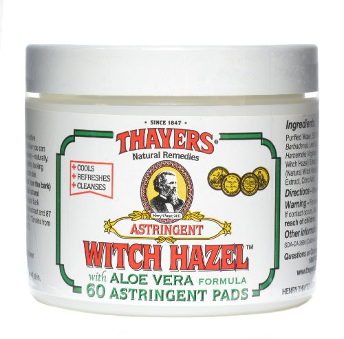 Thayers Original Witch Hazel Astringent Pads with Aloe Vera Formula - 60 ct madina olive soap 3 5 oz with aloe vera