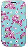 Trendz Folio Cover Case for Samsung Galaxy S4 - Turquoise/Pink Rose Pattern
