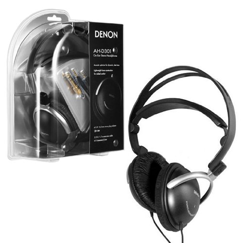 Black Denon? Ah-D301 3.5Mm On-Ear Stereo Headphones Earphones Headset+6.3Mm Plug