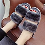 AMA(TM) Women Soft Coral Fleece Open Toe Indoor Home Slippers Shoes (7 US, Gray)