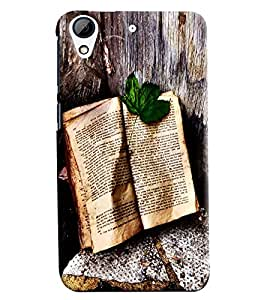 Blue Throat Book With Leaf Printed Designer Back Cover/ Case For HTC Desire 728