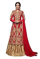 Monika Silk Mill Presents Red & Beige Designer Dress Material