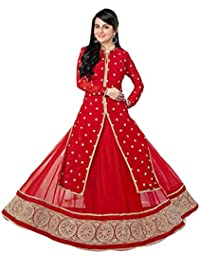 Clickedia Women's Georgette Red Heavy Salwar Suit Anarkali -Dress Material -Free Size