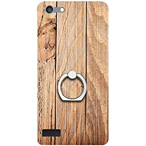 Casotec Wooden Texture Design 3D Printed Hard Back Case Cover with Metal Ring Kickstand for Oppo Neo 7