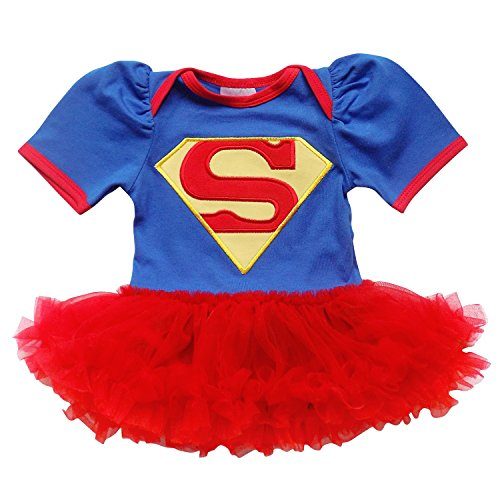 So Sydney Baby Girls Tutu Chiffon Ruffle Skirted Onesie Superhero Romper (L (12-24 Months), Blue & Red (Supergirl))