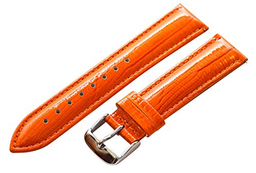 18Mm 2 Piece Ss Leather Lizard Grain Orange Interchangeable Replacement Watch Band Strap