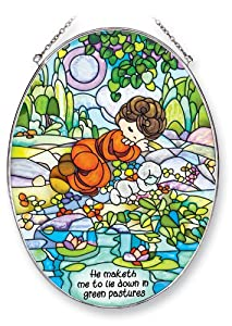 Amia Precious Moments Suncatcher, He Maketh Me to Lie Down in Green Pastures, 9-Inch by 6-1/2-Inch