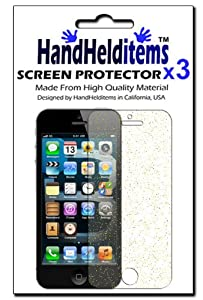 HHI Crystal Clear Glitter HD Screen Protector for iPhone 5 and iPhone 5S - Gold Glitter (3 Pack) (Package include a HandHelditems Sketch Stylus Pen)
