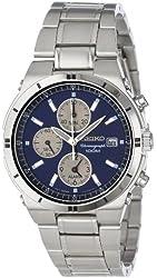 Seiko Men's SNA695 Alarm Chronograph Silver-Tone Watch