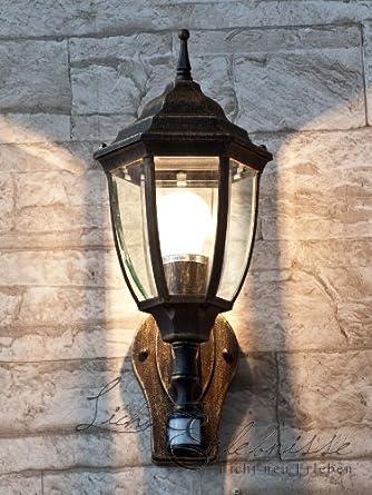 edle au enwandleuchte in antik mit bewegungsmelder le2 1 834 wandlampe hoflampe au enleuchte. Black Bedroom Furniture Sets. Home Design Ideas