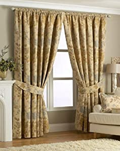 READING GOLD 66x90 FLORAL LINED PENCIL PLEAT CURTAINS #ERIHSKREB *RIV* by PCJ Supplies