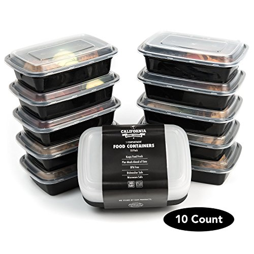California Home Goods 1 Compartment Reusable Food Storage Containers with Lids, Microwave and Dishwasher Safe, Bento Lunch Box, Stackable, Set of 10 (Microwave Freezer Containers compare prices)