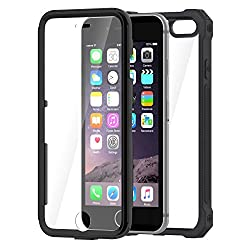 iPhone 6 Case by Daswise TPU Armor Full Body Protective Cover + Self-Adhesive Screen Shield - Drop-Tested (10X from 4Ft) Dust Proof Design Hybrid ABS Frame Anti-Scratch Clear PET-Screen Protector. For iPhone 6 4.7 ( Black )