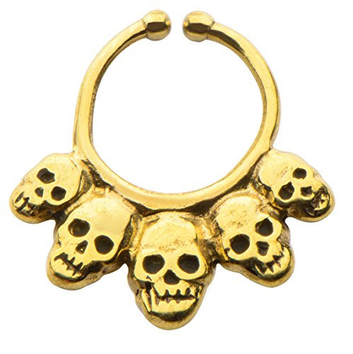 Casted Yellow Italian Brass Faux Septum Nose Ring Clicker --FREE Gift Box w 142 (Italian Horn Bone compare prices)