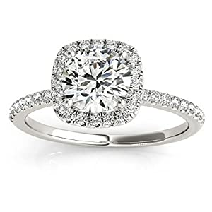 Prong Set, Square Shape Halo Diamond Engagement Ring Setting with Accents in 14k White Gold 0.20ct