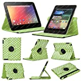 Stuff4 MR-NX7-L360-PD-GW-STY-SP Polka Dot Designed Leather Smart Case with 360 Degree Rotating Swivel Action and Free Screen Protector/Stylus Touch Pen for 7 inch Google Nexus 7 - Green/White