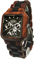 Tense Mens Multi-Eye Date Time Month Square Wood Watch B7305SD-W DF from Tense Wood Watches