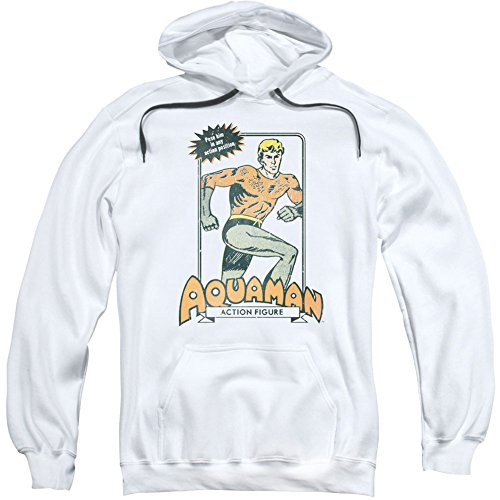 Trevco Dc-Am Action Figure - Adult Pull-Over Hoodie - White, Medium