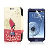 Flip PU Leather Case Cover For Samsung Galaxy S3 Mini i8190 + Protector PC446