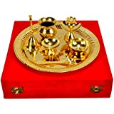 IndianCraftVilla Handmade Decorative Gold Plated Pooja Thali Aarti Thali Set Of 7 Pieces With Gift Box Packing...
