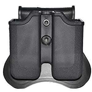 Ultimate Arms Gear 9mm .38 .40 Caliber Glock 17 19 22 23 25 26 27 31 32 33 34 35 37 38 39 Dual Double Magazines Ammo Case Rotates 360 Pouch Handgun Single Stack Molded Polymer Open Top Tactical Quickdraw Black Speed Sportster Side Concealment Paddle Holst
