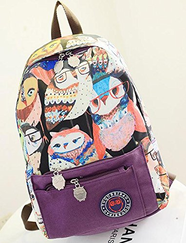 American Shield Schoolbag Legend Of The Guardians Owl Canvas Casual Leisure Ipads Backpack Boys Girls Unisex.0Ff-0Ff-Qumi21104-Purple