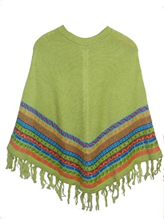 NEW ARRIVAL PERUVIAN ALPACA WOOL PONCHO CREWNECK GREEN APPLE DESIGN ONE SIZE WARM AND SOFT