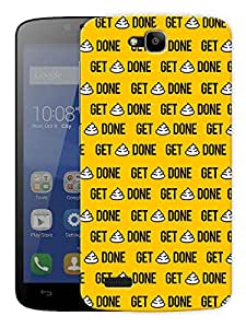 """Get Shit Done - Yellow Printed Designer Mobile Back Cover For """"Huawei Honor Holly"""" By Humor Gang (3D, Matte Finish, Premium Quality, Protective Snap On Slim Hard Phone Case, Multi Color)"""