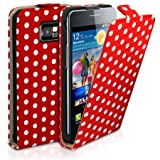 Cut Price Accessories Samsung S7500 Galaxy Ace Plus Red Polka Dot Flip Case with Dedicated Phone Holder
